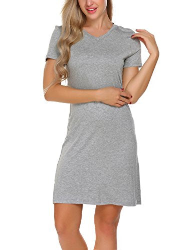 Ekouaer Women's Casual Nightshirt Short Sleeve Viscose Sleepwear Dress S-XXL