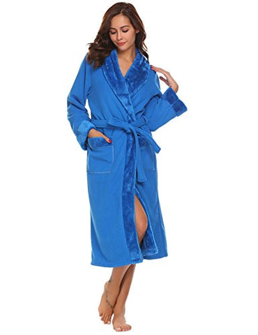 Ekouaer Plush Lined Bathrobe For Women Winter Spa Bath Robes Sleepwear