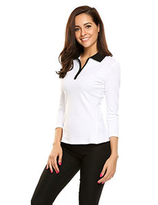 Ekouaer Women Casual Collar 3/4 Sleeve Golf Performance Polo Tee Front Zip Uniform Polo T-Shirts