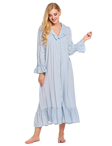 Ekouaer Lace Victorian Nightgown Cotton Long Sleeve Sleepwear For Women