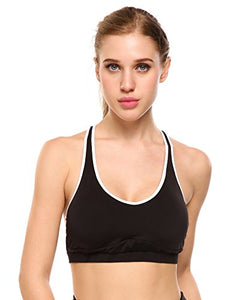 Ekouaer Womens Support Crossback Wirefree Removable Cup Workout Yoga Sports Bra