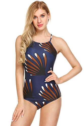 Ekouaer Womens One Piece High Neck Padded Bikini Monokini Back Lace Up Halter Swimsuits