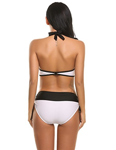 Ekouaer Women's Bikinis Halter Push Up Cut Out Sexy Two Piece Bikini Swimsuit Sets