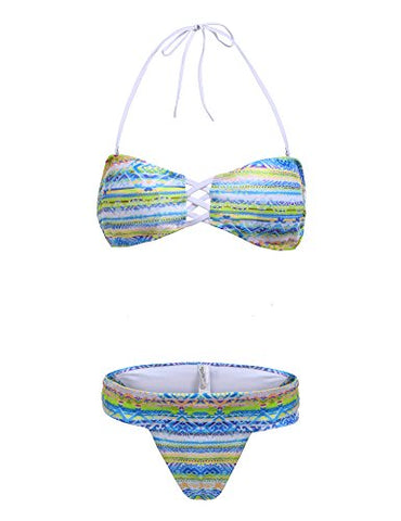 Ekouaer New Vintage Cute Women Sexy Bikini Set Print Cross Front Bandage Swimwear Swimsuit Set (FBA)
