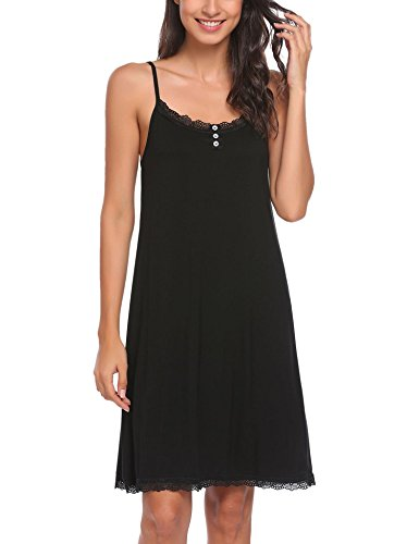 Ekouaer Women's Sleeveless Sleepwear Cotton Nightdress Slip Sleep Dress (Black XXL)