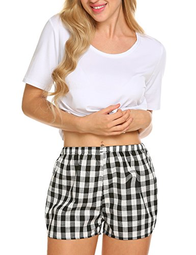 Ekouaer Women's Sleepwear Short Sleeve Cotton Top and Plaid Pajama Shorts Set S-XXL