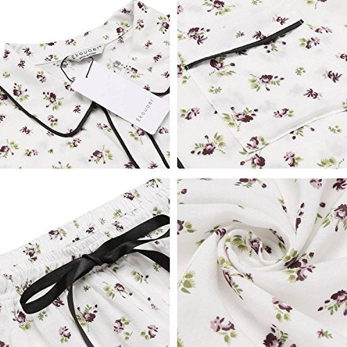 Ekouaer Womens Cotton Pajamas Set Short Button Down PJ Flower Print Sleepwear