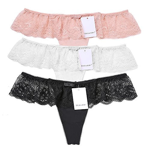 Ekouaer Womens Plus Size Thongs Panties Sexy Lace G-String Briefs Underwear 3-Pack