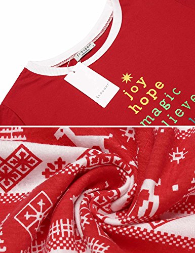 Ekouaer Womens 2 Piece Long Cotton Christmas Pajamas Set With Flying Reindeer Pants