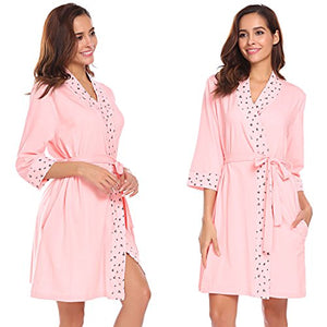 Ekouaer Womens Kimono Robe 3/4 Sleeve Floral Print Belted Sleepwear Nightgown Nightwear