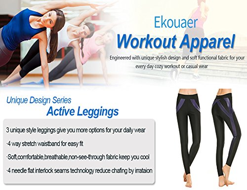 Ekouaer Women's High Waist Yoga Pants Tummy Control Non-see-through(Navy,XL)