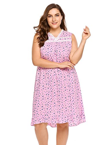 Ekouaer Plus Size Cotton Nightgowns for Women Pajama Shirt Sleep Dress Floral V-Neck Nightwear Sleepshirts