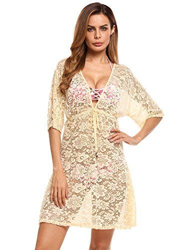 Ekouaer Womens Sexy Bikini Cover up Floral Lace Tunic Beach Dress Swimwear