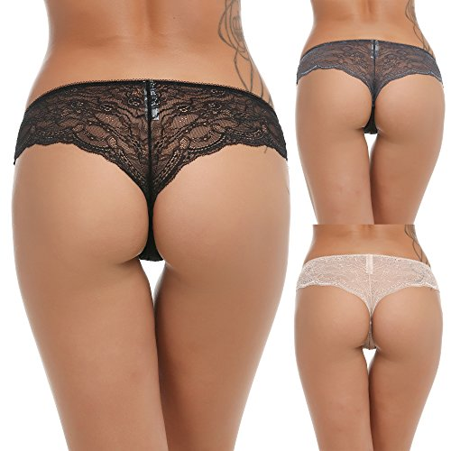 Ekouaer Women's Lace Cheeky Boy Panty