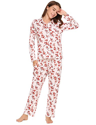 Ekouaer Women's Long Sleeves Floral Pajamas Set Sleepwear with Tops and Pants S-XXL