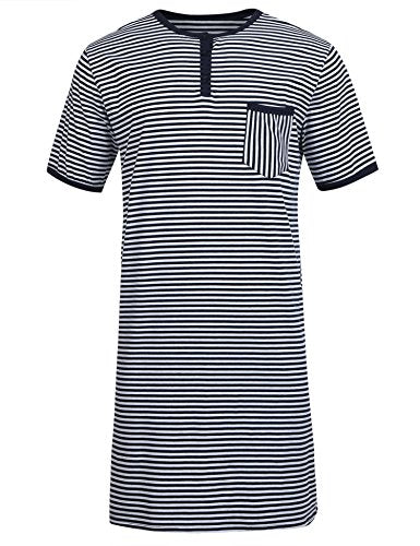 Ekouaer Mens Cotton Nightshirt Big & Tall Stripe Henley Sleep Shirt Sleepwear