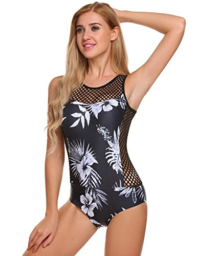 Ekouaer Womens Lace Hollow Out Monokini Print High Neck One Piece Swimsuits