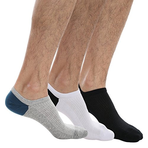 Ekouaer Men's Thin Casual No Show Socks 3 Pack Low Cut Flat Boat Breathable Socks