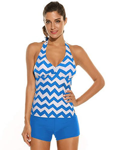 Ekouaer Women Halter Padded Two Piece Swimsuit Tankini,Blue,Small