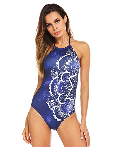 Ekouaer Womens Bathing Suit Halter High Neck Backless One Piece Swimsuit