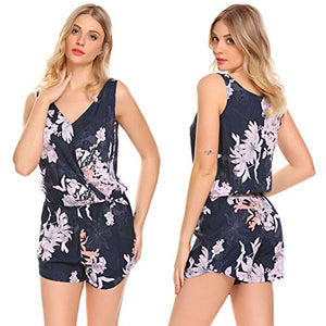 Ekouaer Women's Sleeveless V Neck Romper Jumpsuit Floral Print Backless Romper Shorts