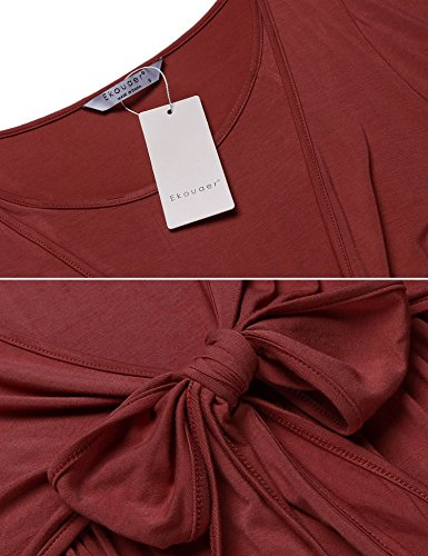 Ekouaer Ladies Super Soft Maternity & Nursing Nightgown Rayon Sleepwear Wine L
