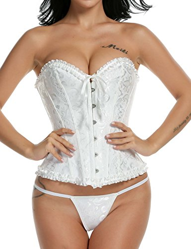 Ekouaer Womens Corset Satin Lace up Shapewear Overbust Bustier