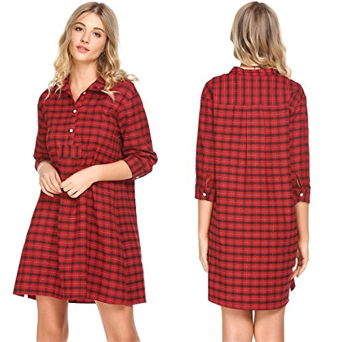 Ekouaer Womens Classic Plaid Nightgown Soft Boyfriend Nightshirt Button Down Sleepshirt
