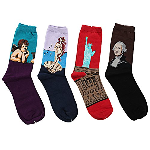 Ekouaer Men's Women's Christmas Art Patterned Casual Crew Socks 4 Pack
