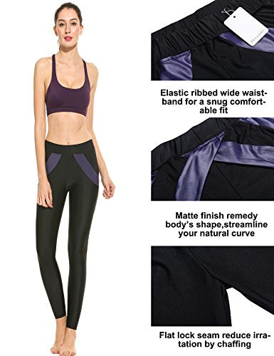 Ekouaer Women's Full length Yoga Pants Gym Workout Leggings(Black,M)