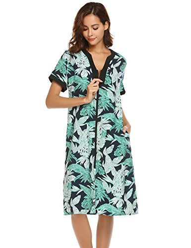 Ekouaer Robes for Women Zipper Front V-Neck Short Sleeve Floral Sleepshirt