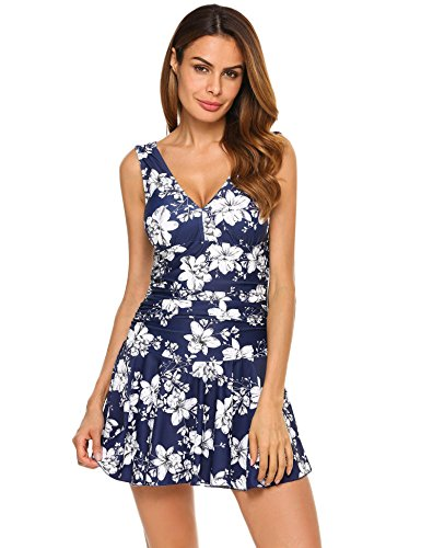 Ekouaer Women's Polka Dot Halter Push up One Piece Swimdress Swimsuit