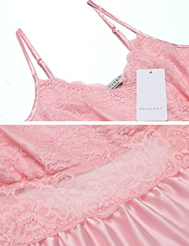 Ekouaer Women Lingerie Satin Nightgown Lace Chemise Sleepwear