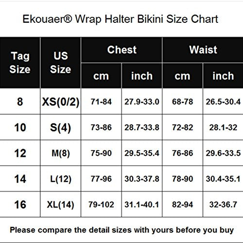 Ekouaer Women's Strap Side Bottom Wrap Halter Bikini Bathing Suits