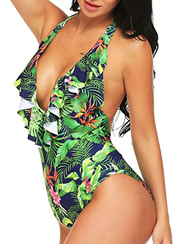 Ekouaer Swimwear Womens Monokini Swimsuits Sexy Floral Vintage V Neck Halter One Piece Bathing Suits