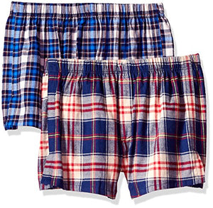 Ekouaer Men's Tartan Boxers with Exposed Waistband Big Soft Stretch-Knit Underwear (Pack of 2)