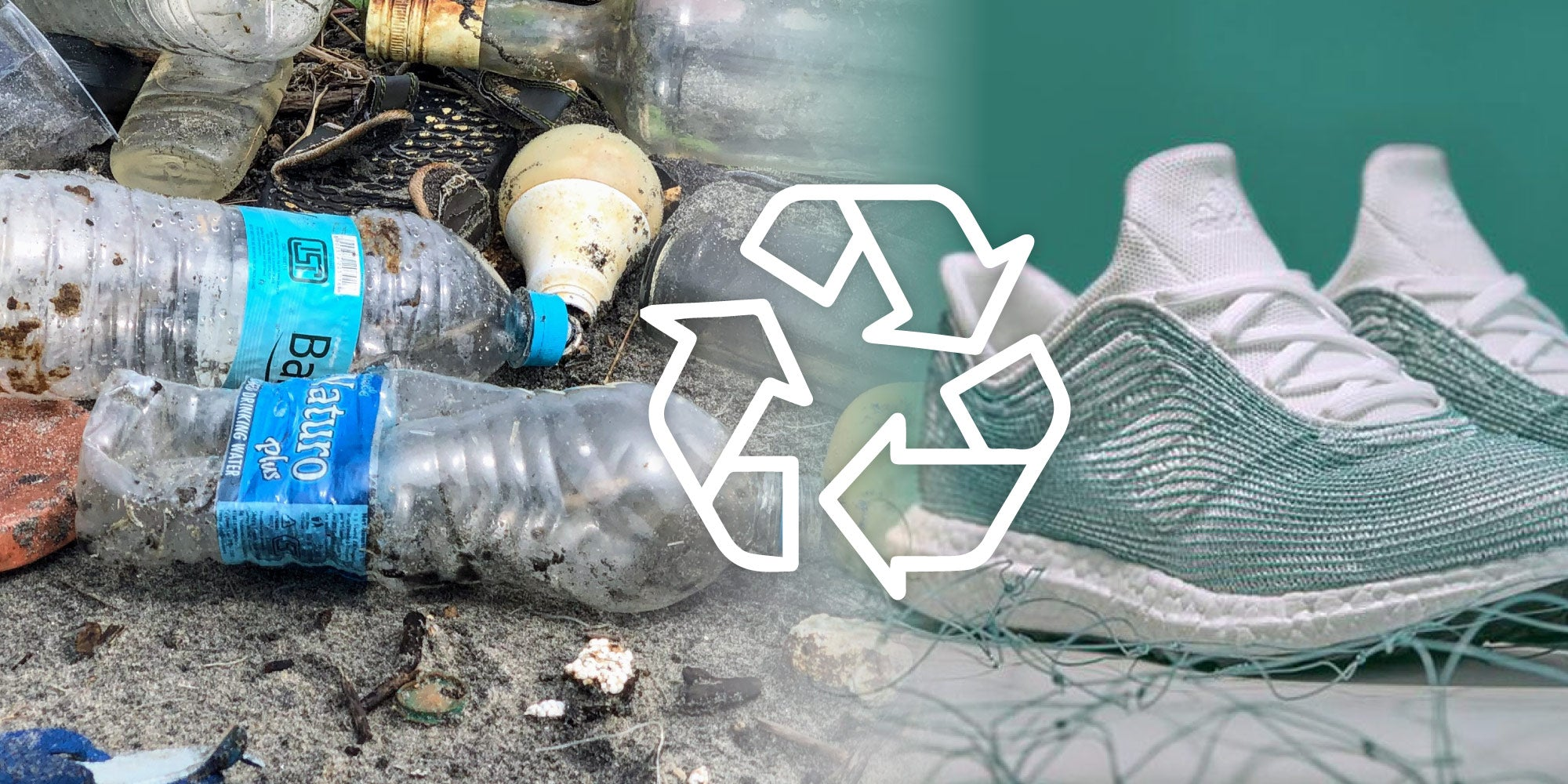 dual images showing ocean plastic being recycled into new products