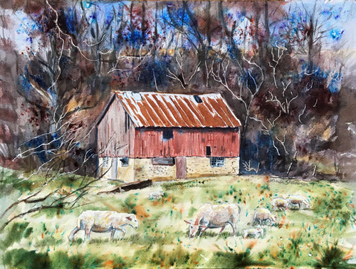 Watercolor painting of old barn in fall with sheep in foreground