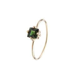Baby D Carre Ring - Green Tourmaline