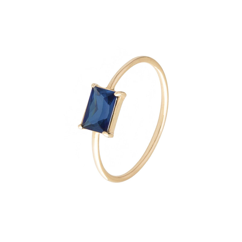 Baby D Rectangle Ring - Sapphire