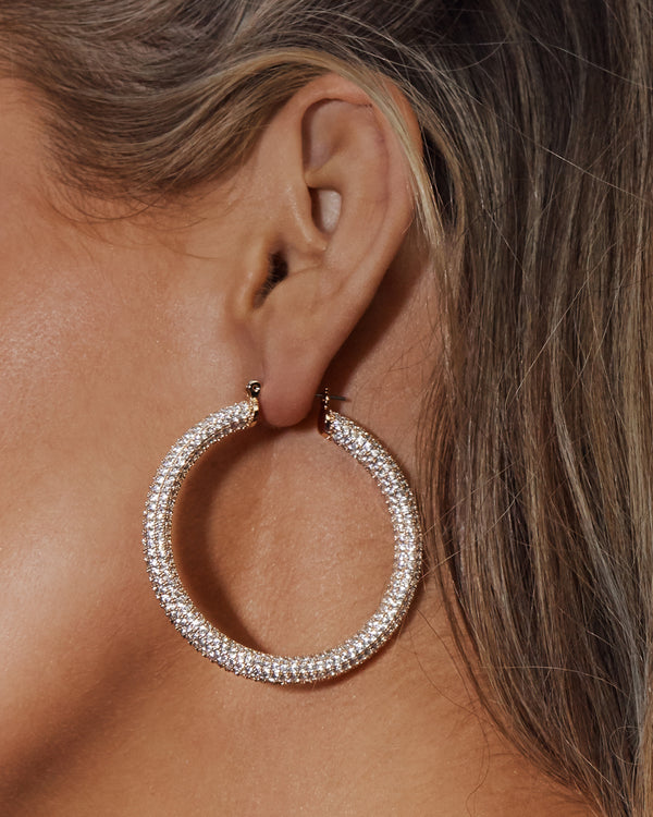 Pave Amalfi Tube Hoops - Gold