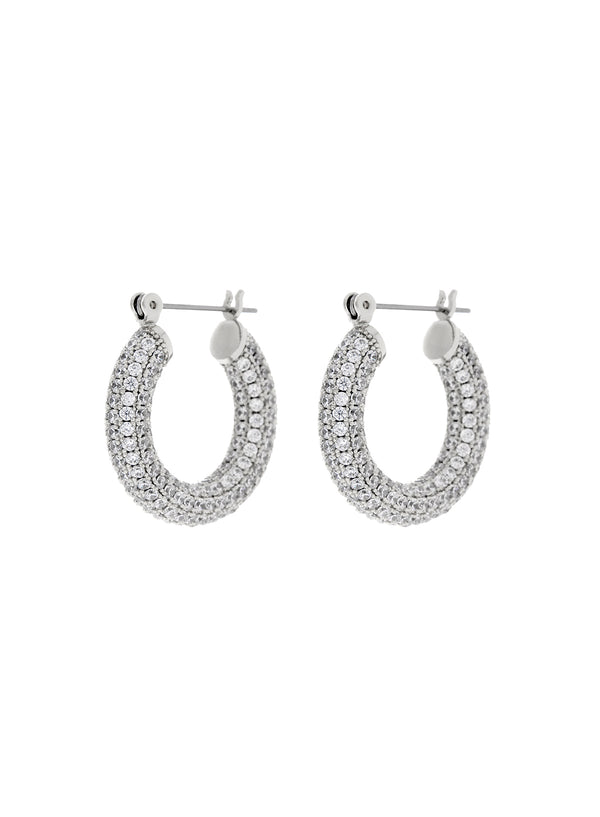 Pave Baby Amalfi Hoops - Silver