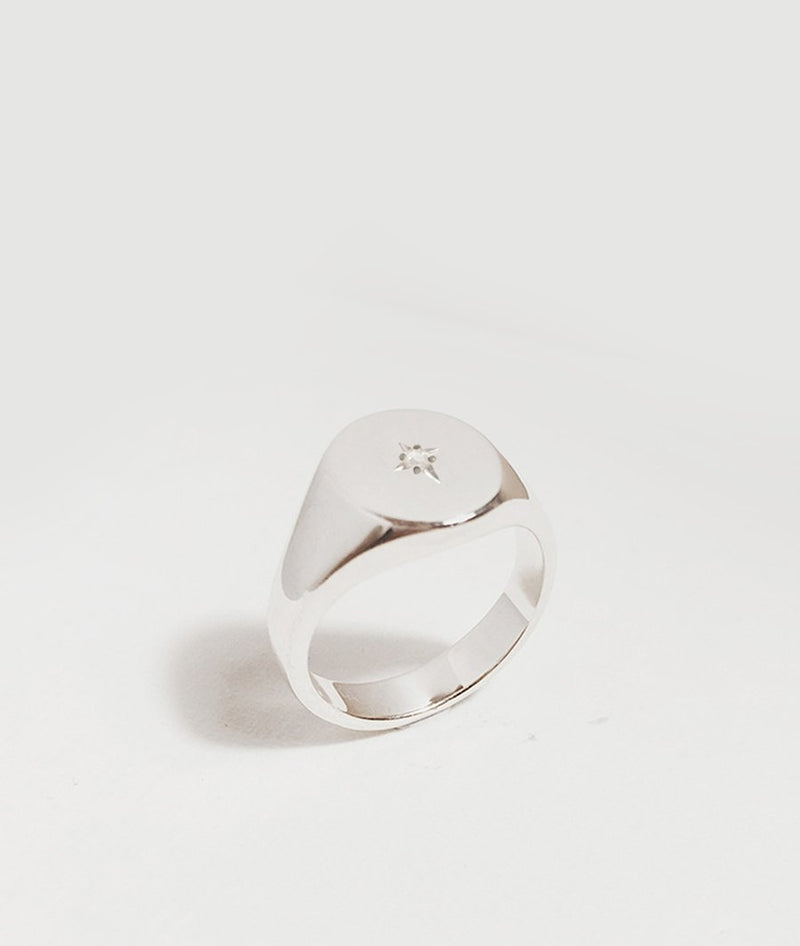 Star-set Small Signet Ring