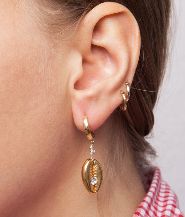 Just A Friend Shell Earring - Gold - Single Piece