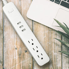 Load image into Gallery viewer, TP® Quality 3 Outlet 3  USB Switch Power Strip Surge Protector 4Ft  Cord with Flat Plug