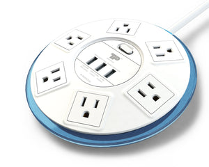 TP UFO 6-Outlet Surge Protector Clear-Blue Round Power Center Strips