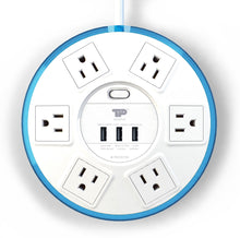 Load image into Gallery viewer, TP UFO 6-Outlet Surge Protector Clear-Blue Round Power Center Strips