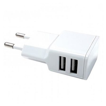 Chargeur mural Double USB pour smartphone blanc