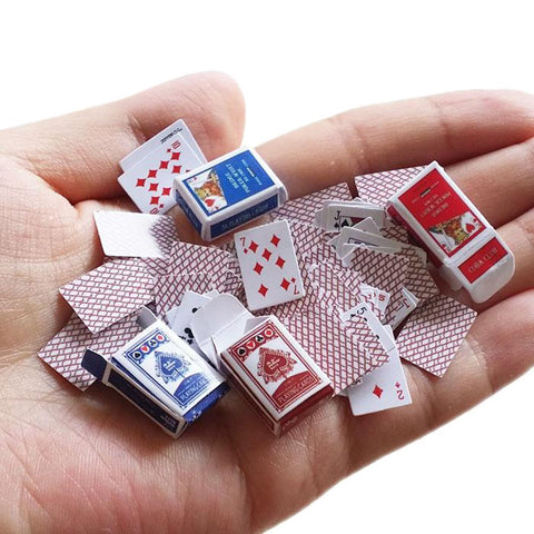 Miniature Playing Cards Set (4 boxes and 2 card decks)