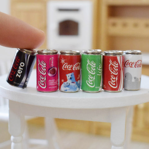 Dollhouse Miniature Coca Cola Cans (6 pcs)